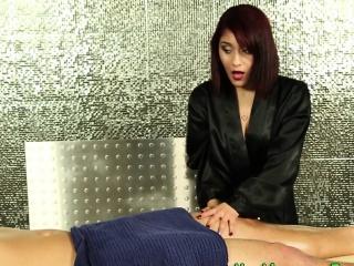 Latina masseuse gives bj
