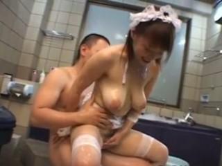 Busty maid fucked in bath tab