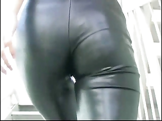Asian modelling latex catsuit