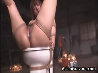 Cute asian babe in bondage..
